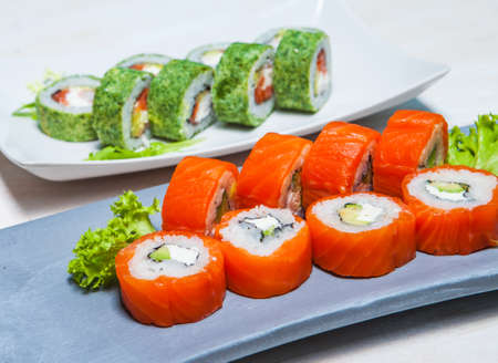 Delicious sushi rolls Stock Photo