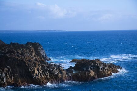 View of the sea and rocks in lanzarote, canary islands