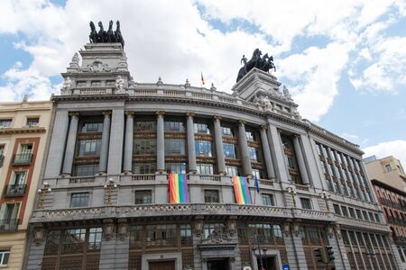 June, 30 2017. Madrid, Spain. Building decorated with multicolored flag during gay pride party in Madrid
