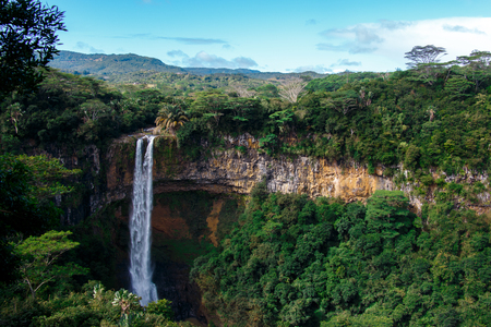 Landscape with a waterfall in Mauritius