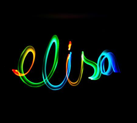 Voornaam, Elisa, gemaakt met een lichte schilderij van kleuren Stockfoto