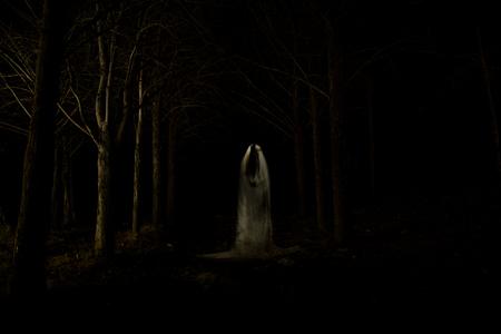 Foto van een geest in het midden van het bos met totale duisternis en gemaakt met behulp van de lightpainting-techniek
