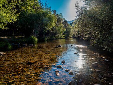 The River Manzanares. Along its course through La Pedriza, in Guadarrama Mountains National Park, Madrid, Spain.