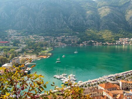 Stock aerial photo of a bay with a small town with a port in Peljesac, Croatia. Travel concept Reklamní fotografie