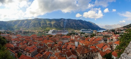 Stock photo of an aerial photo of a bay with an tied cruise. Peljesac, Croatia. Travel concept