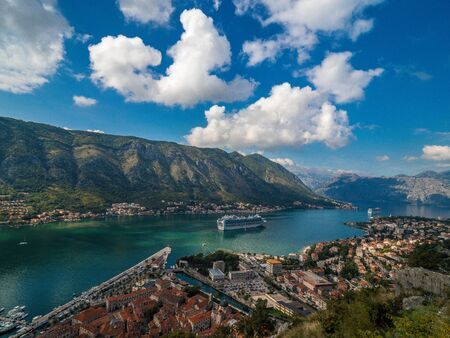 Stock photo of aerial view of Kotor Bay, Montenegro. Travel concept Reklamní fotografie