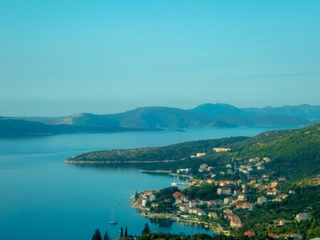 Stock photo of aerial view of the coastline of the village of Dubrovnik, Croatia, Travel concept