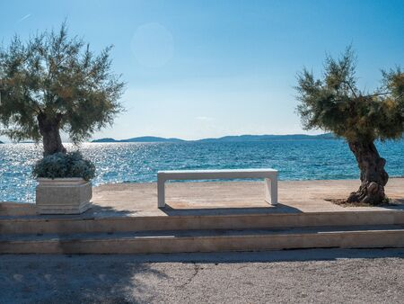Stock photo of promenade on the coast with a bench and two trees in Cavtat, Croatia. Travel concept Reklamní fotografie