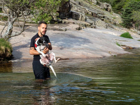 Close-up of dog trainer holding puppy to teach him to swim in a lake. Black and white puppy learning to swim in a lake. Foto de archivo