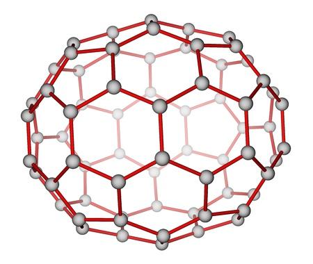 Fulleren C70 molekularen Struktur auf weißem Hintergrund