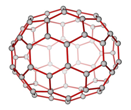 superconductivity: Fullerene C70 molecular structure on a white background Stock Photo
