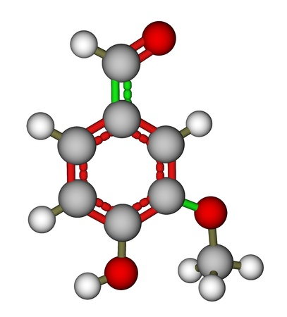 Vanillin molecular structure on a white background photo