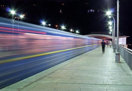Train passes Dnieper metro station, Kyiv, Ukraine Stock Photo - 12082373