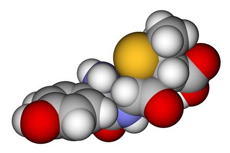 parenteral: Antibiotic amoxicillin molecule on a white background