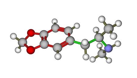 ecstasy: MDMA (�xtasis) mol�cula sobre un fondo blanco Foto de archivo