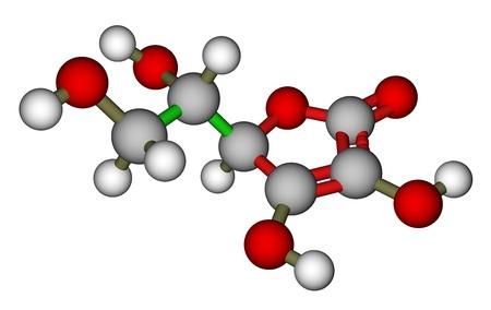 ascorbic: Ascorbic acid (vitamin C) molecular model Stock Photo
