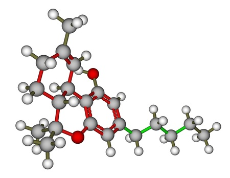 Tetrahydrocannabinol (THC) molecular model photo