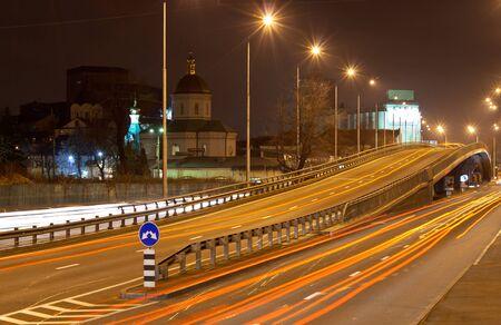 Road interchange at night