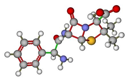 parenteral: Antibiotic ampicillin molecular structure
