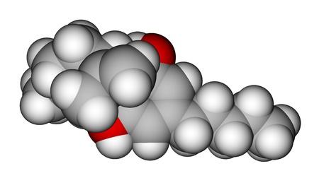 addictive: Cannabidiol molecule, the constituent of the cannabis plant