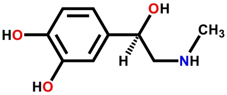 Adrenaline structural formula drawn on a white background