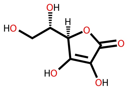 c vitamin: Ascorbic acid (vitamin C) structural formula Illustration