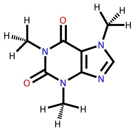 Koffein Strukturformel auf weißem Hintergrund gezeichnet Illustration
