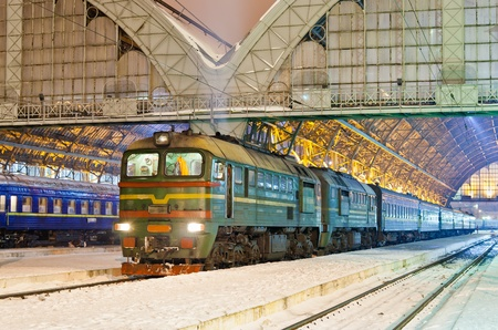 Diesel passenger train in Lviv, Ukraine