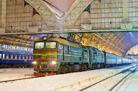 electric grid: Diesel passenger train in Lviv, Ukraine Editorial
