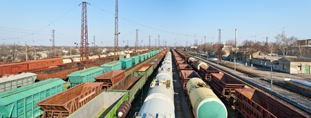 flatcar: Heavy traffic at station Lozova, Ukraine Editorial