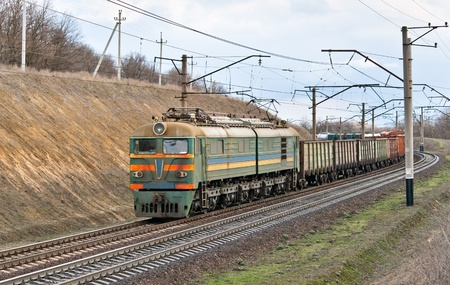 Freight electric train in Dnipropretrovsk region, Ukraine Stock Photo - 12368242