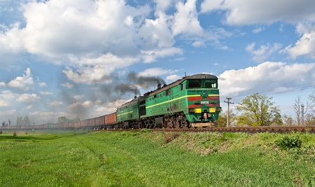 Freight diesel train in Ukraine