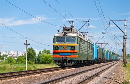 Freight electric train in Kyiv region, Ukraine Stock Photo - 12368240