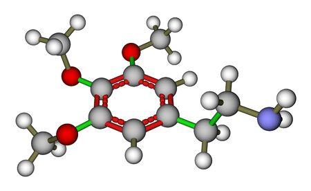 mescaline: Psychedelic mescaline molecule