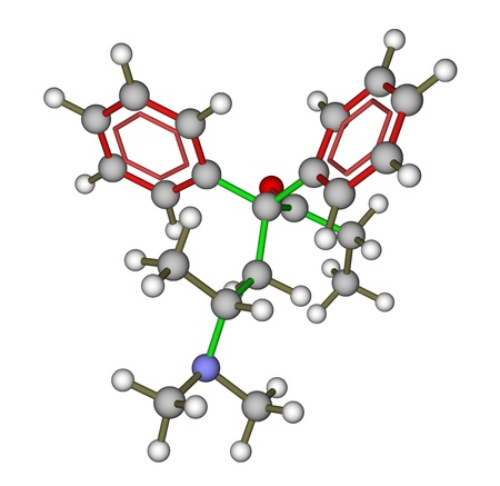 Methadone (synthetic opioid) molecular structure Stock Photo - 12416077