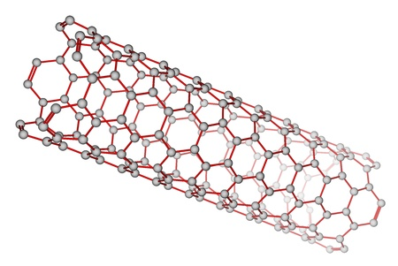 Carbon nanotube on a white background photo