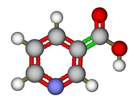 nicotinic: Niacin (vitamin B3 or PP) molecular 3D model