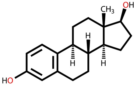 Sex hormone estradiol structural formula Illustration