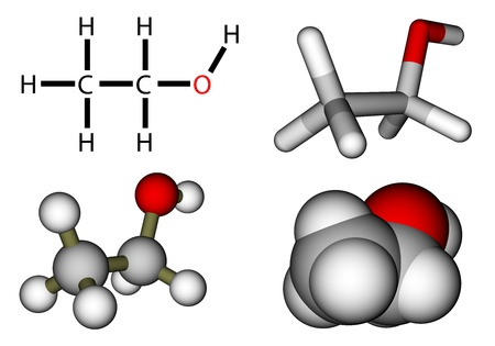 Etil fórmula estructural alcohol y modelos moleculares Foto de archivo