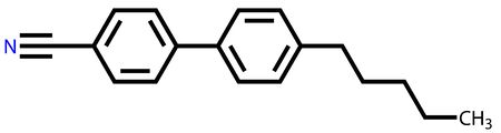 biphenyl: Twisted nematic liquid crystal molecule structural formula Illustration