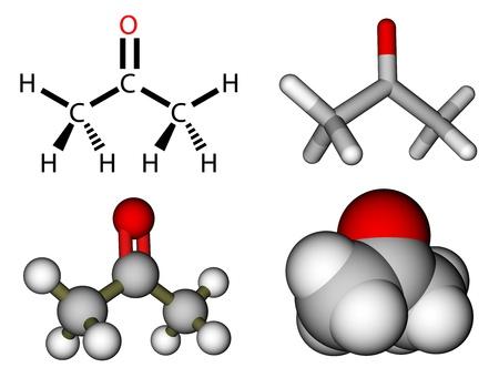 Acetone structural formula and molecular models