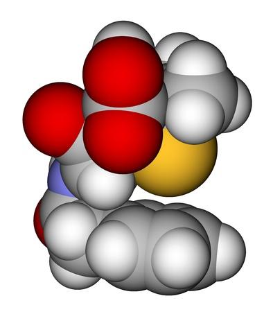 parenteral: Penicillin G (benzylpenicillin) space filling molecular model