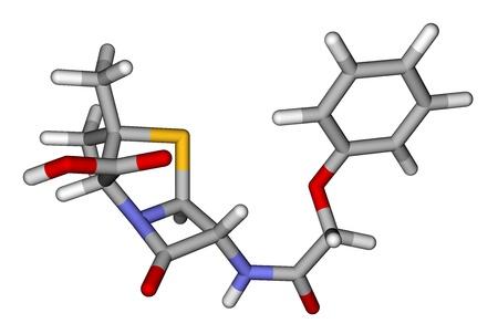 Penicillin V (phenoxymethylpenicillin) stricks molecular model photo