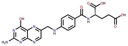 Folic acid (vitamin B9) structural formula Vector