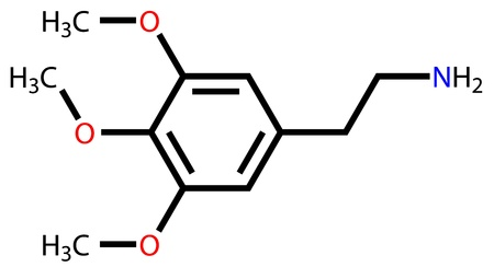 transcendence: Natural psychedelic mescaline structural formula