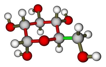 Glucose (alpha-D-glucopyranose) molecular structure photo