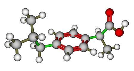 dilate: Ibuprofen molecular structure Stock Photo