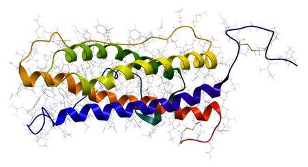 Hyman prolactin hormone. Molecular structure Stock Photo