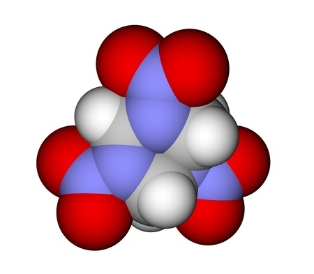 Explosive RDX (also known as hexogen, cyclonite) molecule photo