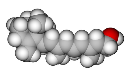 Retinol (vitamin A) space filling molecular model photo